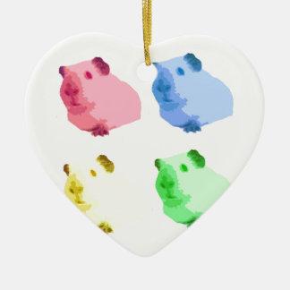 Cute Popart Cutout Green Pink Yellow Guinea pigs Ceramic Ornament