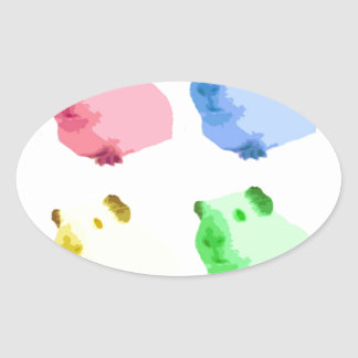 Cute Popart Cutout Green Pink Yellow Guinea pigs Oval Sticker