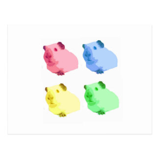 Cute Popart Cutout Green Pink Yellow Guinea pigs Postcard