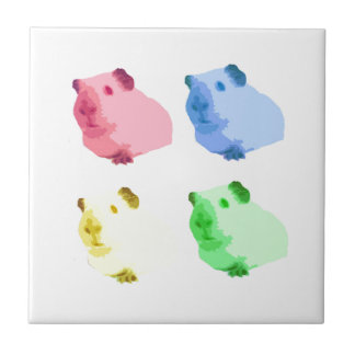 Cute Popart Cutout Green Pink Yellow Guinea pigs Tile