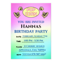 Cute Popcorn Sheep Childrens Birthday Party Invitation