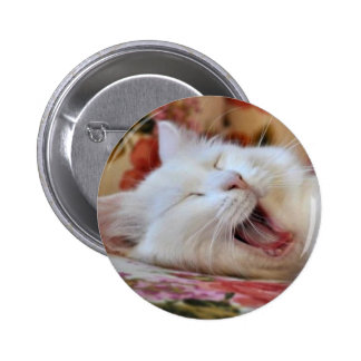 Cute Portrait Of A Yawning Van Cat Pinback Buttons