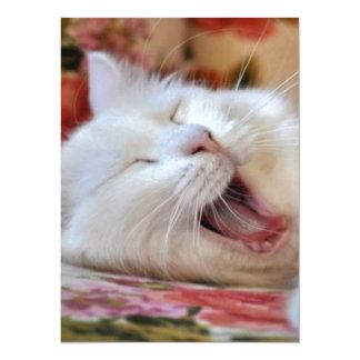 Cute Portrait Of A Yawning Van Cat Card