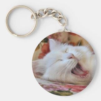 Cute Portrait Of A Yawning Van Cat Keychain