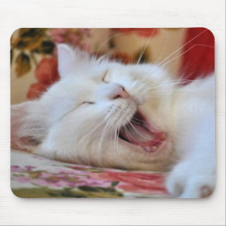 Cute Portrait Of A Yawning Van Cat Mouse Pads