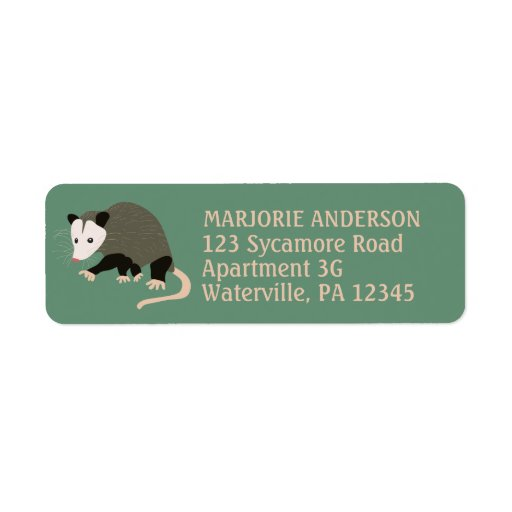Cute Possum Illustration Green Return Address Label