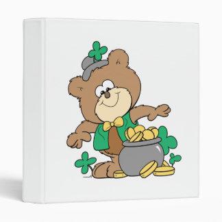 cute pot of gold irish st paddy boy teddy bear 3 ring binders