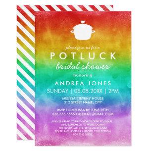 cute potluck lesbian bridal shower rainbow ombre invitation