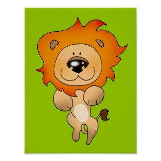 Cute pouncing lion posters