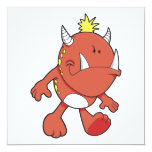 cute pouting fire fang monster 5.25x5.25 square paper invitation card