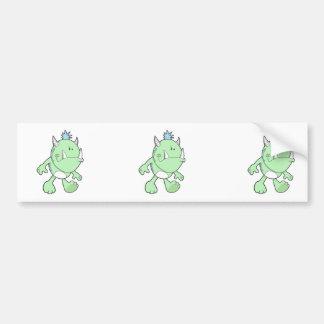 cute pouting green fang monster car bumper sticker