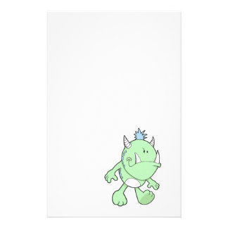 cute pouting green fang monster stationery paper