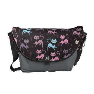 Cute Prancing Cat Messenger Bag by Fluff