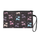 Cute Prancing Cats Wristlet Bag by Fluff