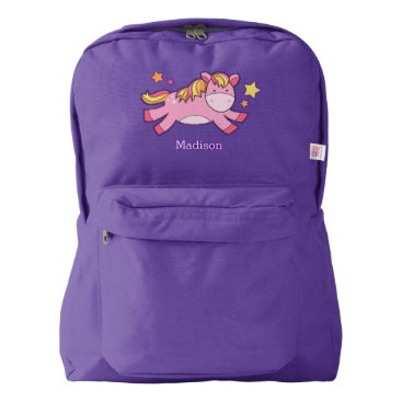heartlocked Cute Prancing Pony Personalized Backpack