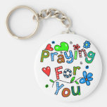 Cute Praying For You Greeting Text Expression Key Chain