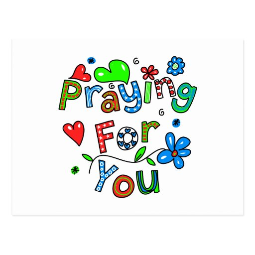 Cute Praying For You Greeting Text Expression Postcards