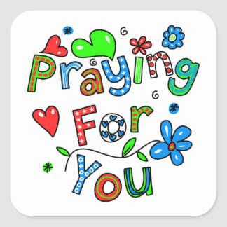 Cute Praying For You Greeting Text Expression Square Sticker