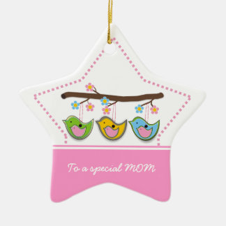 Cute pregnant birdies flowers Mother's Day Double-Sided Star Ceramic Christmas Ornament