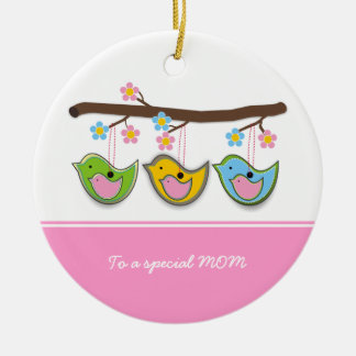 Cute pregnant birdies flowers Mother's Day Christmas Tree Ornaments