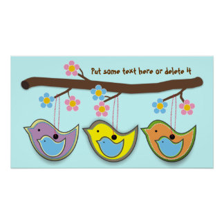 Cute pregnant blue Birdies Posters