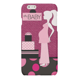 Cute Pregnant Mom Pink and Black Polkadot Oh Baby Matte iPhone 6 Case