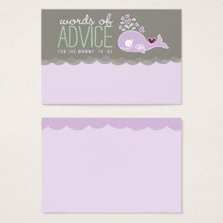 Cute Pregnant Whale Baby Shower Mommy Advice Cards