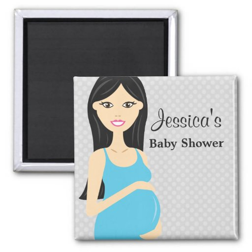 cute pregnant woman in blue dress baby shower magnet zazzle