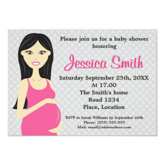 Cute Pregnant Woman In Pink Dress Baby Shower Card