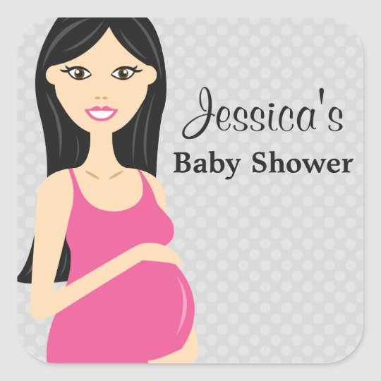 Cute Pregnant Woman In Pink Dress Baby Shower Square Sticker