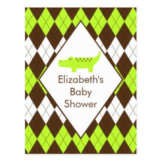 Cute Preppy Alligator Baby Shower RSVP Post Card