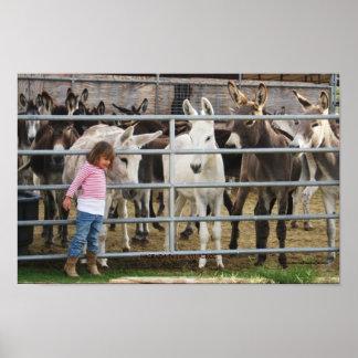 Cute Preschool Girl and Donkey Friends Poster