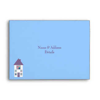 Cute & Pretty Blue House Warming Party Custom Envelope