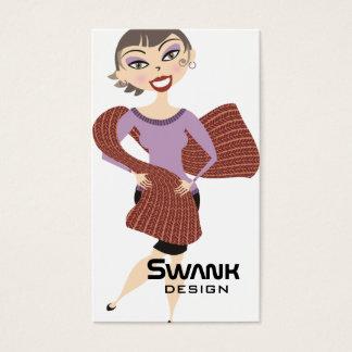 Cute pretty girl giant scarf knitting crochet business card