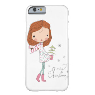 Cute Pretty Girl Merry Christmas White Xmas Barely There iPhone 6 Case