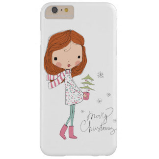 Cute Pretty Girl Merry Christmas White Xmas Barely There iPhone 6 Plus Case