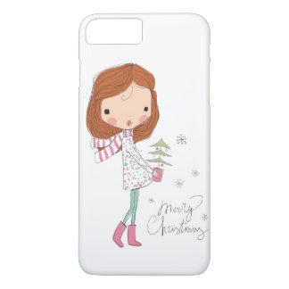 Cute Pretty Girl Merry Christmas White Xmas iPhone 8 Plus/7 Plus Case