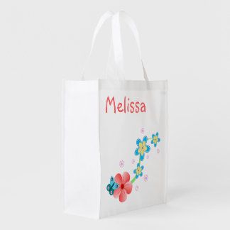 Cute Pretty Girly Butterfly on Pink & Blue Flowers Grocery Bag
