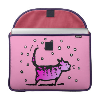 Cute Pretty Girly Pink Cat Sleeve For MacBook Pro
