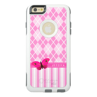 Cute Pretty Pink Argyle and Stripes Butterfly OtterBox iPhone 6/6s Plus Case