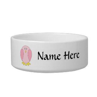 Cute Pretty Pink Bird Cartoon. Bowl