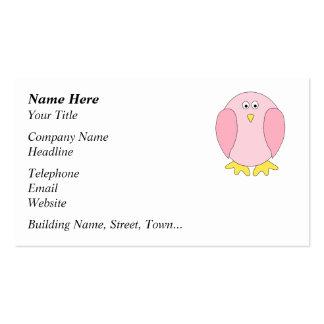 Cute Pretty Pink Bird Cartoon. Business Card