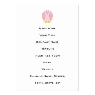 Cute Pretty Pink Bird Cartoon. Large Business Card