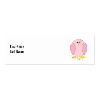 Cute Pretty Pink Bird Cartoon. Mini Business Card