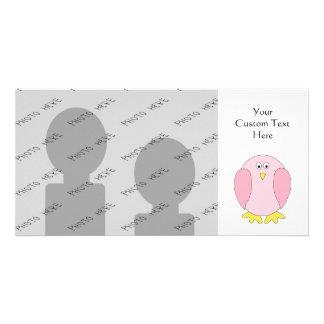 Cute Pretty Pink Bird Cartoon. Photo Card