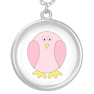 Cute Pretty Pink Bird Cartoon. Round Pendant Necklace