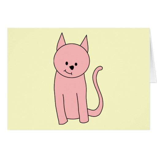 Cute Pretty Pink Cat Greeting Cards