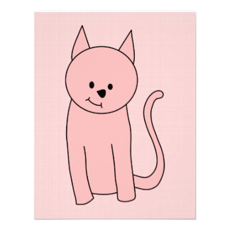 Cute Pretty Pink Cat Custom Invitation