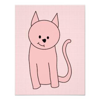 Cute Pretty Pink Cat 4.25x5.5 Paper Invitation Card