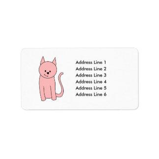 Cute Pretty Pink Cat Label